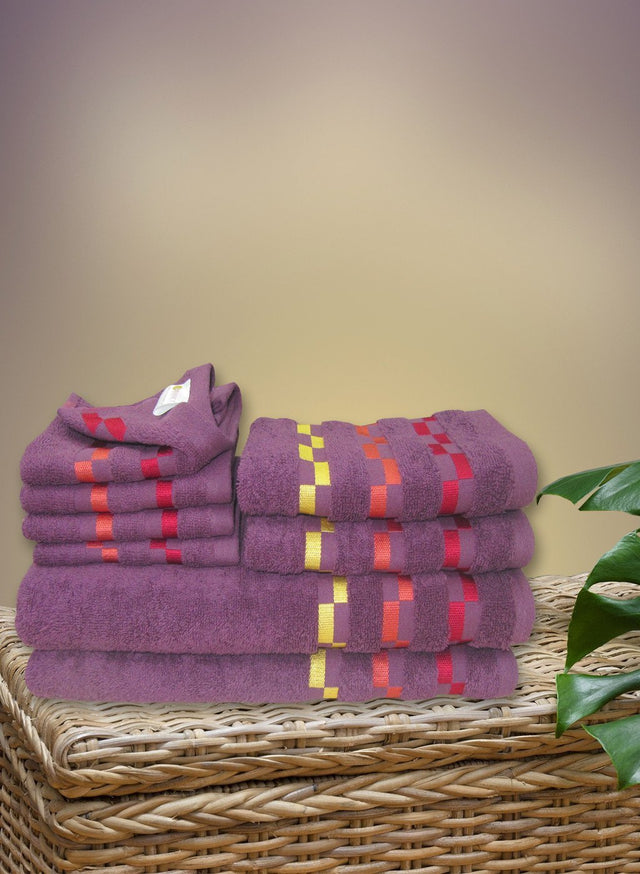 8 Pc Sonoma Towel Set 100% Cotton (2 Bath Towel+ 2 Hand Towel + 4 Face Towel) (C_Bt118Z_Bt118Z_Ht50Z_Ft88Z)