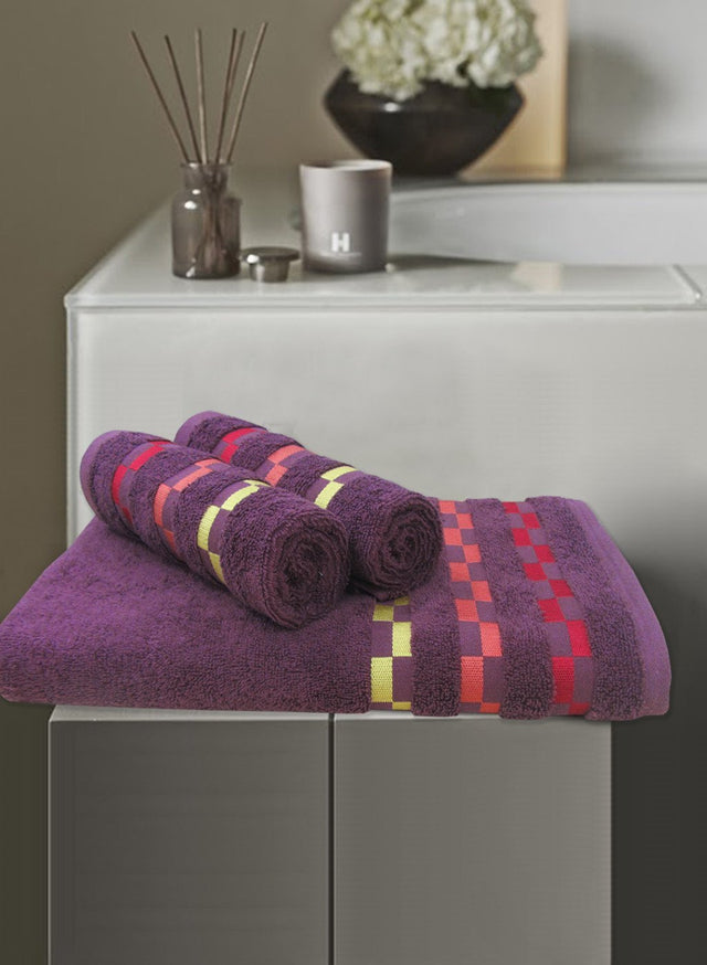 3 Pc Sonoma Towel Set 100% Cotton (1 Bath Towel+ 2 Hand Towel) (C_Bt119Z_Ht51Z)