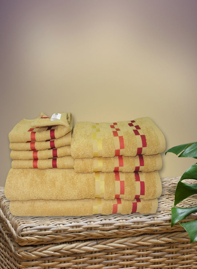 8 Pc Sonoma Towel Set 100% Cotton (2 Bath Towel+ 2 Hand Towel + 4 Face Towel) (C_Bt119Z_Bt119Z_Ht51Z_Ft89Z)