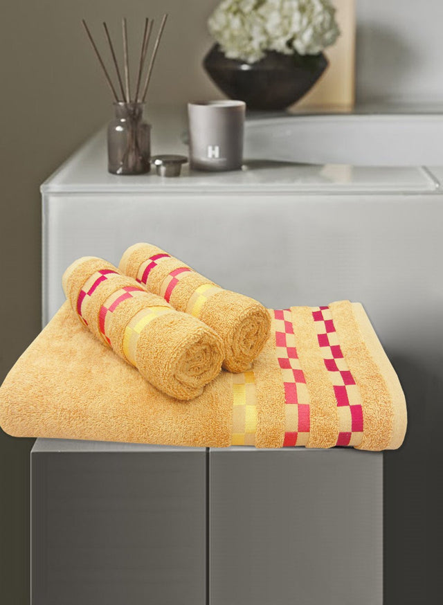3 Pc Sonoma Towel Set 100% Cotton (1 Bath Towel+ 2 Hand Towel) (C_Bt120Z_Ht52Z)
