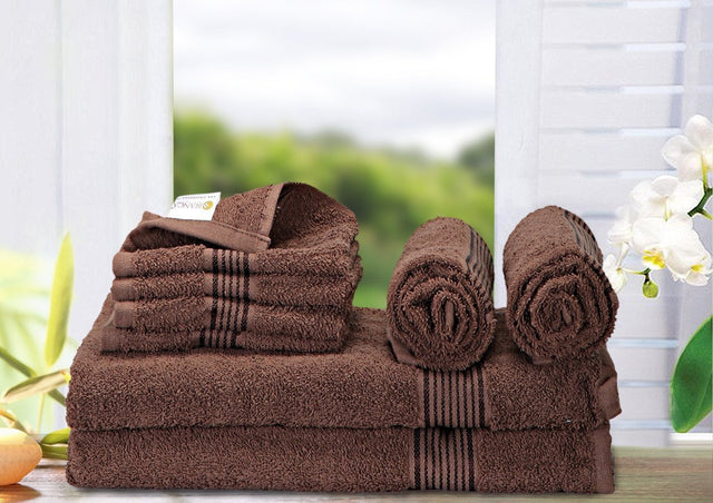 8 Pc Set D'Ross Towel Set 100% Cotton (2 Bath Towel+ 2 Hand Towel + 4 Face Towel) (C_Bt136_Bt136_Ht68_Ft107)