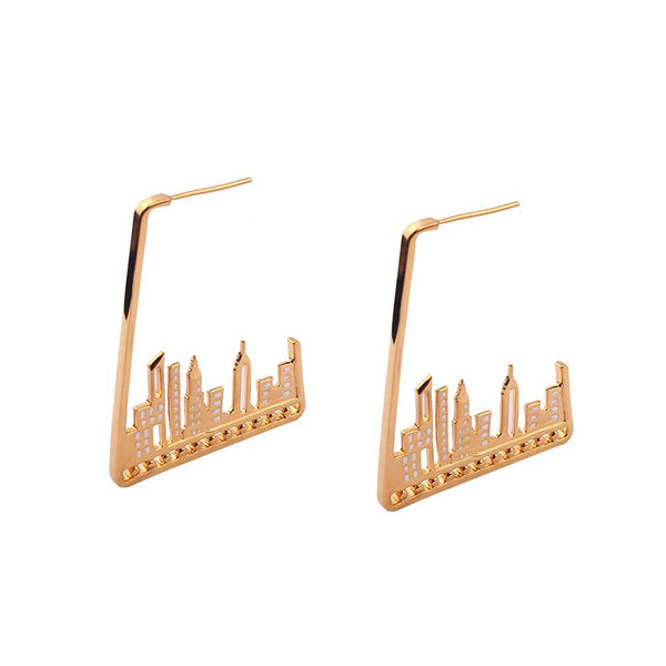 CITY SKYLINE  Sterling Earings - Gold Plated