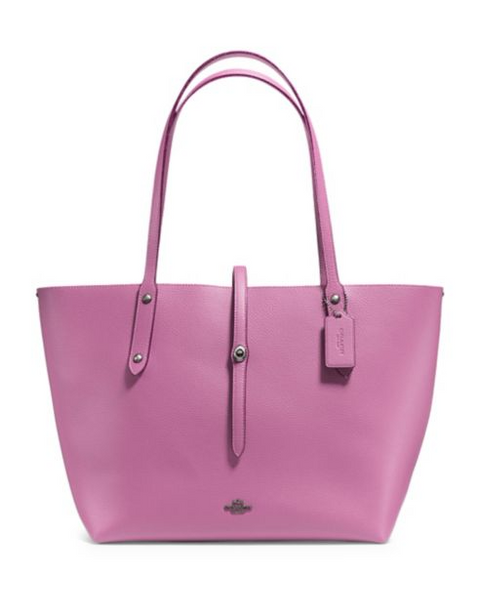 Coach Leather Market Tote - Purple