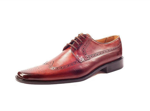 Leo Orange Brown Derby Shoes- Premium Leather Handcrafted Shoes