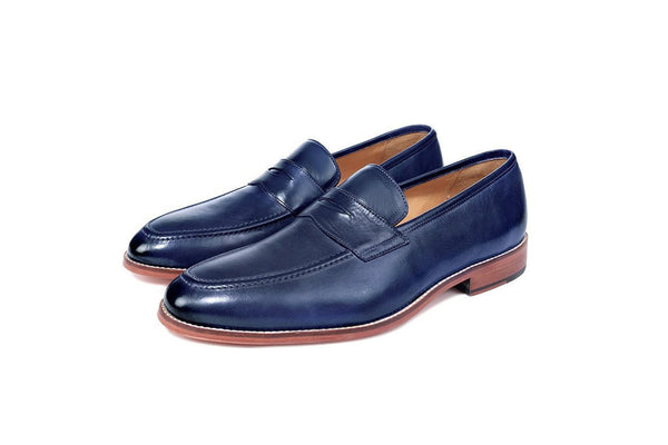 Madrid Electric Blue Penny Loafers - Premium Leather Handcrafted Shoes