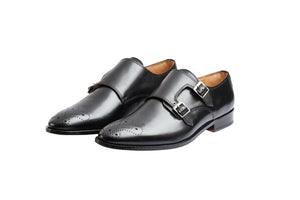 Julio Black Strap Monks- Premium Leather Handcrafted Shoes
