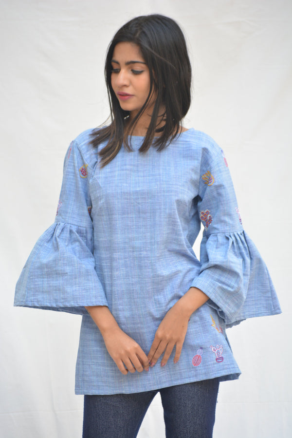I Wear Khadi -Sky Blue Top-IWK-00703
