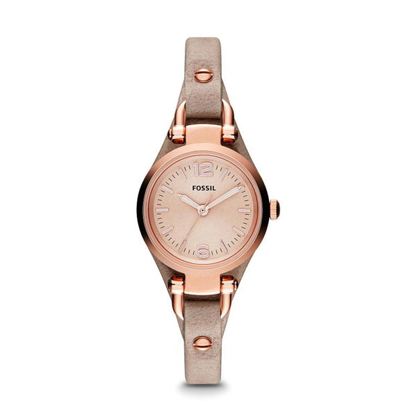Fossil Georgia Mini Rose Dial Sand Leather Strap Ladies Watch