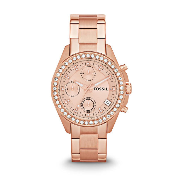 Fossil Decker Chronograph Rose Dial Rose Gold-tone Bracelet Ladies Watch