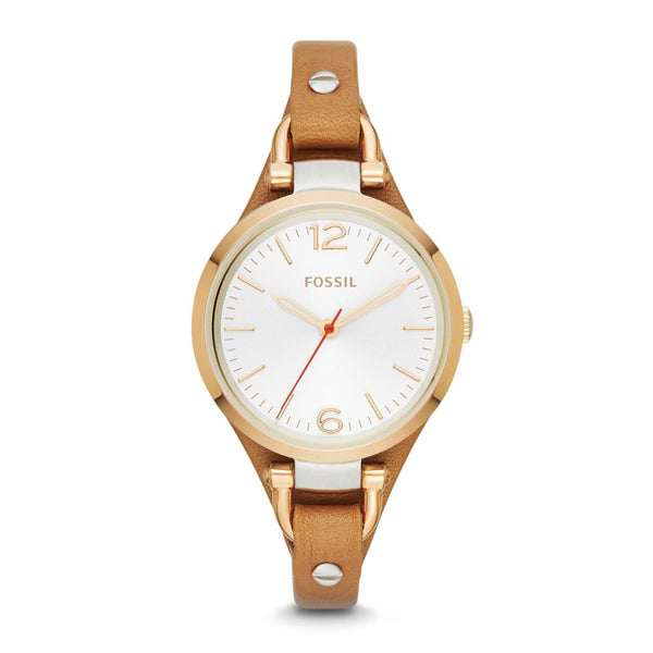 Fossil Georgia White Dial Brown Leather Ladies Watch