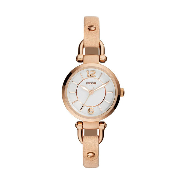 Fossil Georgia White Dial Beige Leather Ladies Watch