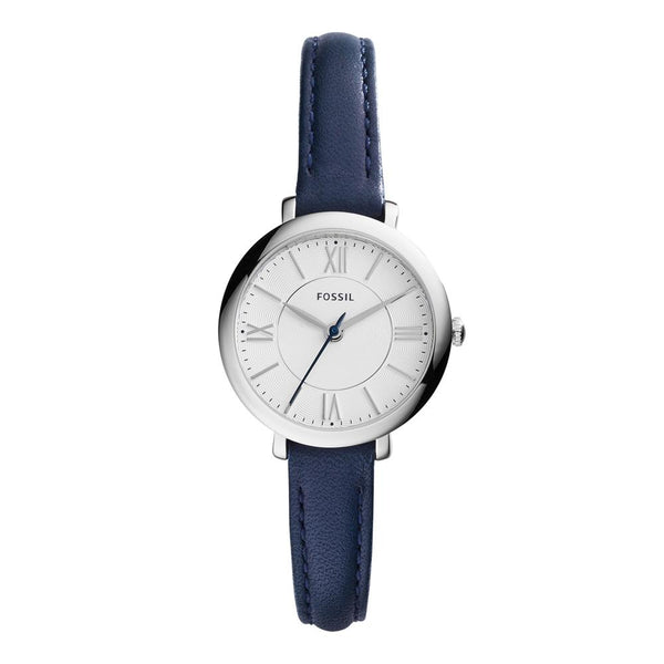 Fossil Mini Jacqueline Women's Silver Dial Navy Blue Leather Watch ES3935