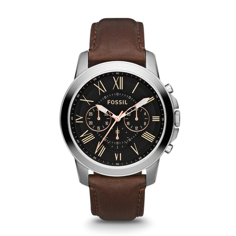Fossil Grant Chronograph Black Dial Brown Leather Men's Watch FS4813