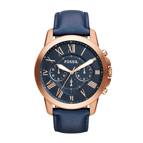 Fossil Grant Multi-Function Navy Dial Navy Leather Men's Watch FS4835