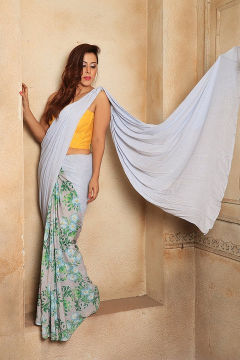 Blue White Stripe Saree - SR001SS18 - BLS001SS18