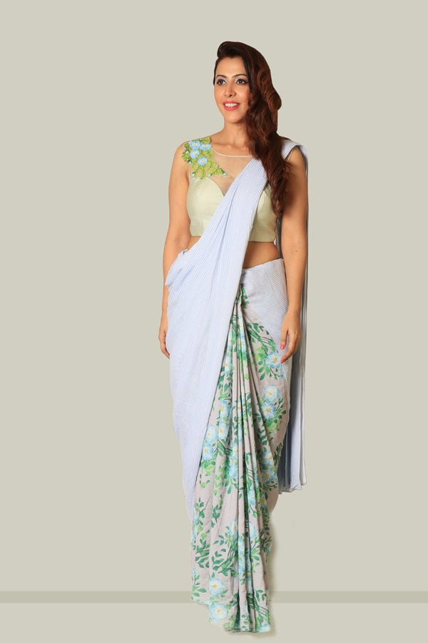 Blue White Stripe Saree - SR001SS18 - BLS002SS18
