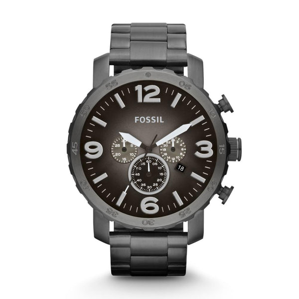 Fossil Nate Men's Smoke Grey Dial Ion-plated Chronograph Watch JR1437
