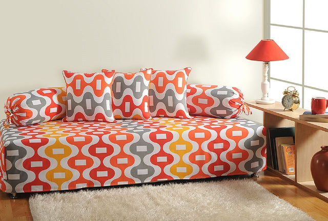 Swayam Orange and White Colour Geometric Diwan Set with Bolster and Cushion Covers (Set of 6)