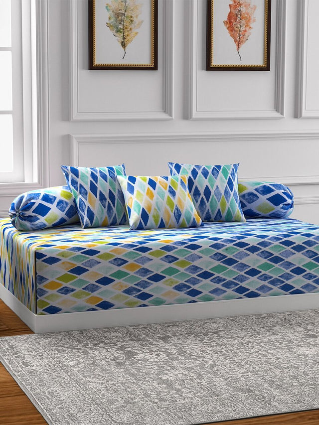 Swayam Yellow and Blue Colour Geometric Diwan Set with Bolster and Cushion Covers (Set of 6)