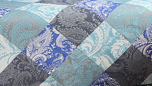 Swayam Blue and Grey Colour Floral Diwan Set with Bolster and Cushion Covers (Set of 6)