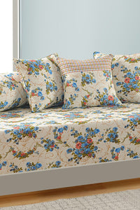 Swayam Off White Colour Floral Diwan Set with Bolster and Cushion Covers (Set of 6)