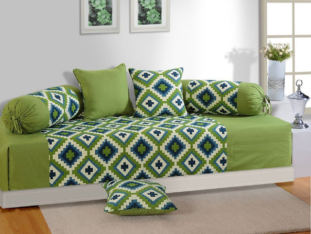 Swayam Green and Purple Colour Geometric Diwan Set with Bolster and Cushion Covers (Set of 6)