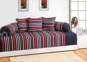 Swayam Navy Blue and Red Colour Stripes Diwan Set with Bolster and Cushion Covers (Set of 6)