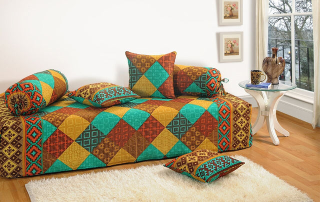 Swayam Turquoise and Brown Colour Geometric Diwan Set with Bolster and Cushion Covers (Set of 6)