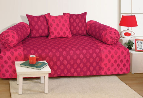 Swayam Pink and Magenta Colour Motifs Diwan Set with Bolster and Cushion Covers (Set of 6)