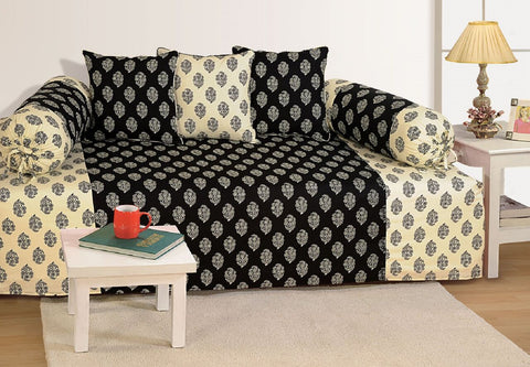 Swayam Black and Off White Colour Motifs Diwan Set with Bolster and Cushion Covers (Set of 6)