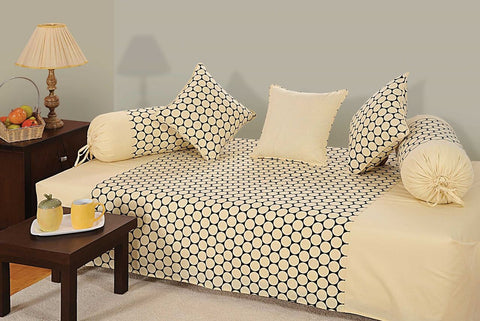 Swayam Cream and Black Colour Geometric Diwan Set with Bolster and Cushion Covers (Set of 6)