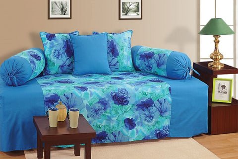 Swayam Blue and Navy Blue Colour Floral Diwan Set with Bolster and Cushion Covers (Set of 6)