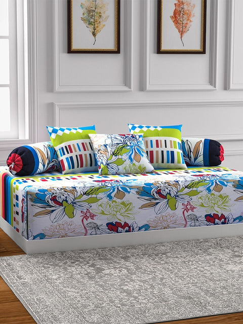 Swayam White and Blue Colour Floral Diwan Set with Bolster and Cushion Covers (Set of 6)