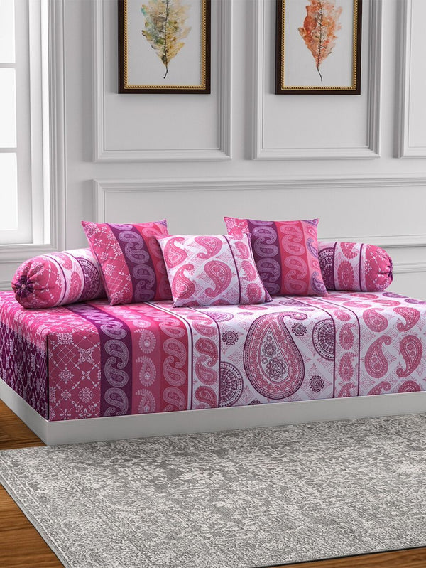 Swayam Pink and Red Colour Motifs Diwan Set with Bolster and Cushion Covers (Set of 6)