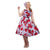 Lady Vintage Red Rose Floral On Lilac Hepburn Dress - Lilac