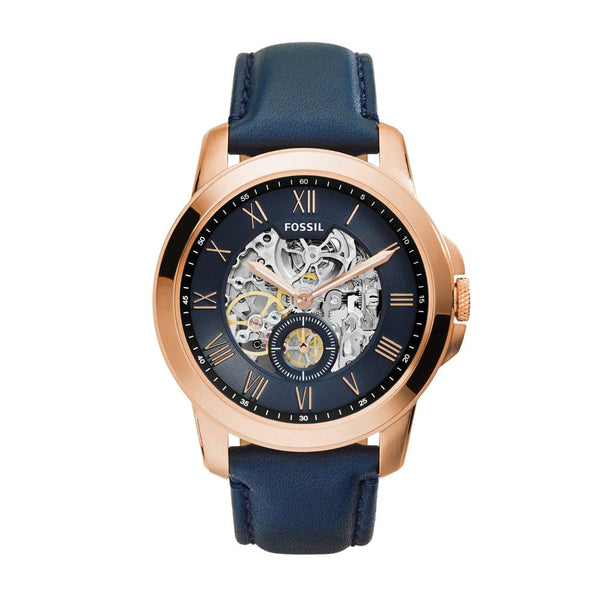 Fossil Grant Men's Skeletal Blue Leather Watch - ME3054