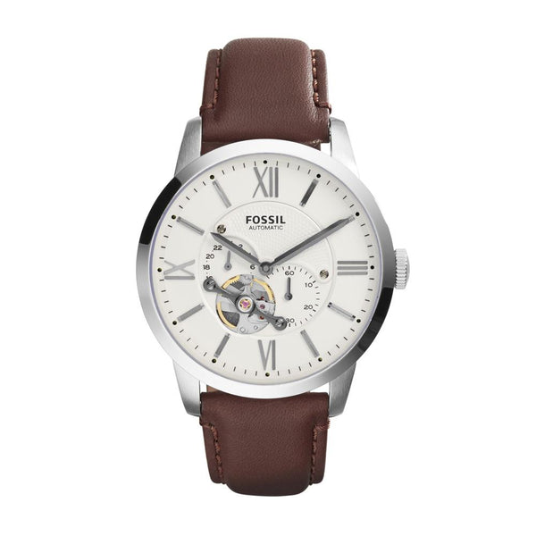 Fossil Townsman Mechanical Cream Dial Brown Leather Men's Watch ME3064