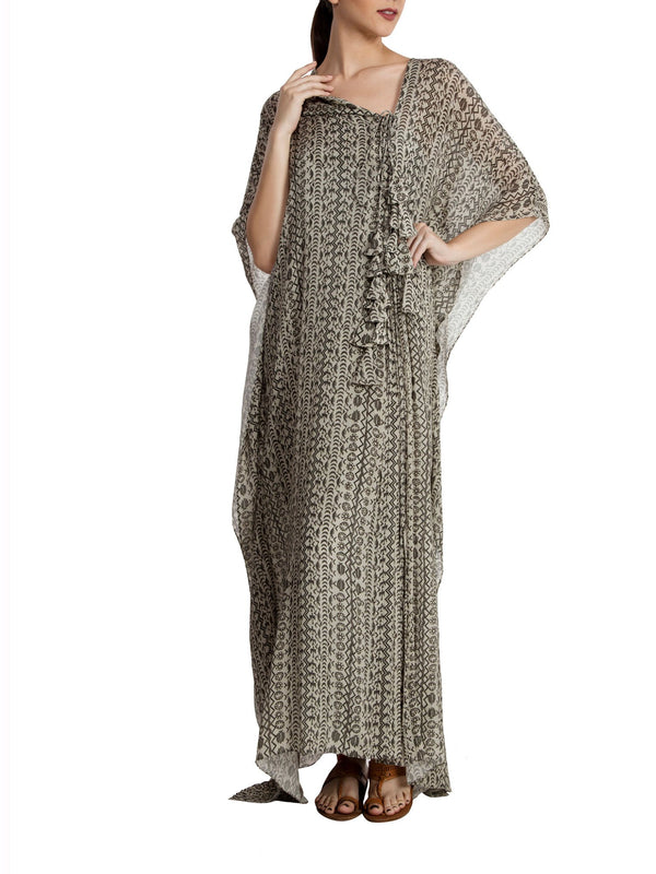 Bird'S Eye Pleated Kaftan With Tassels