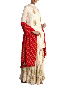 Ivory Crushed Heritage Fish Lehenga Set