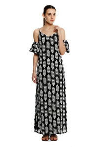 Black Nile Croc Cold-Shoulder Maxi Dress
