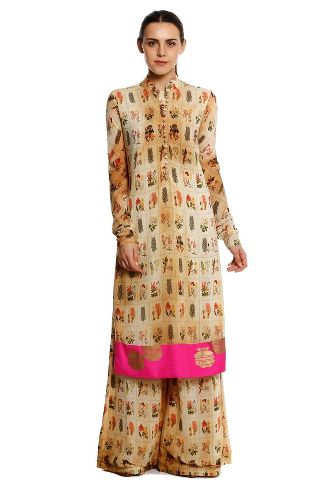 Beige Burning Garden Kurta With Burning Garden Palazzo