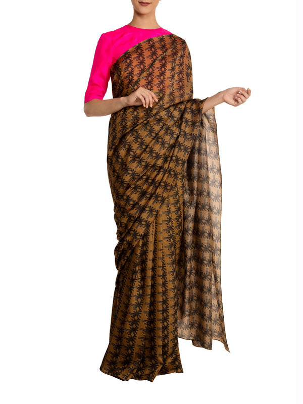 Beige Island Breeze Saree With Pink Blouse Piece