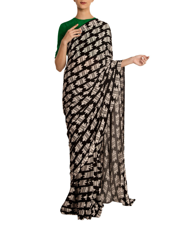 Black & White Nile Croc Saree With Green Blouse Piece