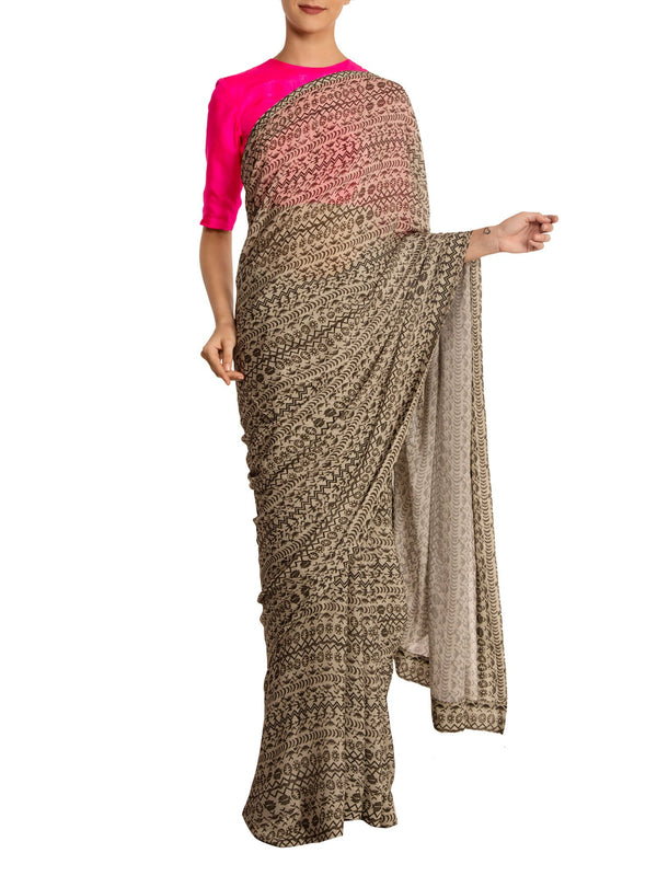 Birds Eye Saree With Pink Blouse Piece