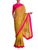 Spicy Mustard Tribal Vase Pleats With Kalash Khadi Palla & Knockout Pink Blouse Piece