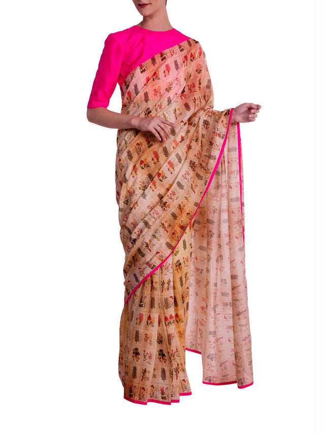 Beige Burning Garden Saree With Knockout Pink Blouse Piece