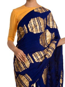 Blue Tribal Vase Crushed Saree With Yellow Blouse Piece