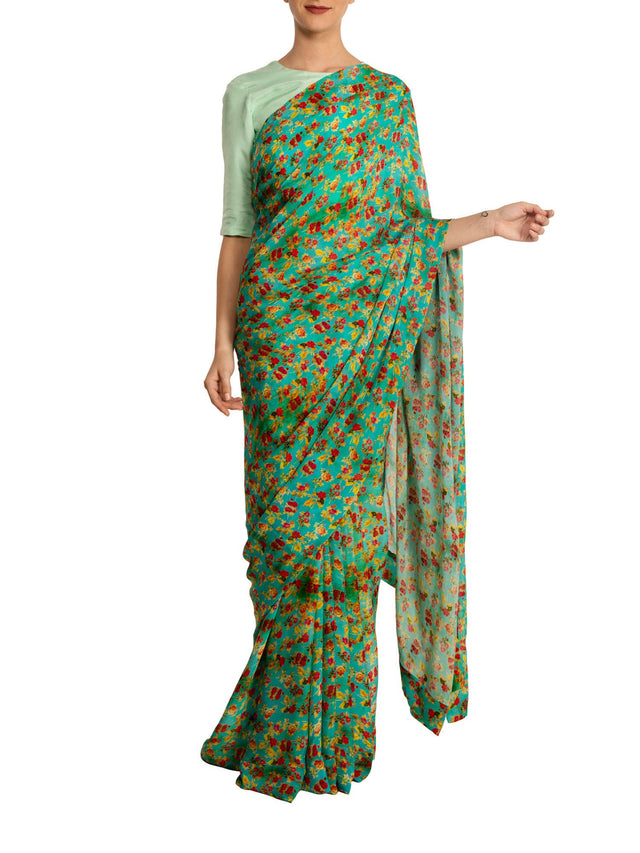 Aqua Floral Bunch Saree With Mint Blouse Piece