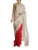 Red Kalash Khadi Saree With Ivory Kalash Khadi Palla & Gold Brocade Blouse