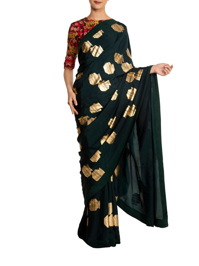 Teal Tribal Vase Saree With Tiger Lily Blouse Piece